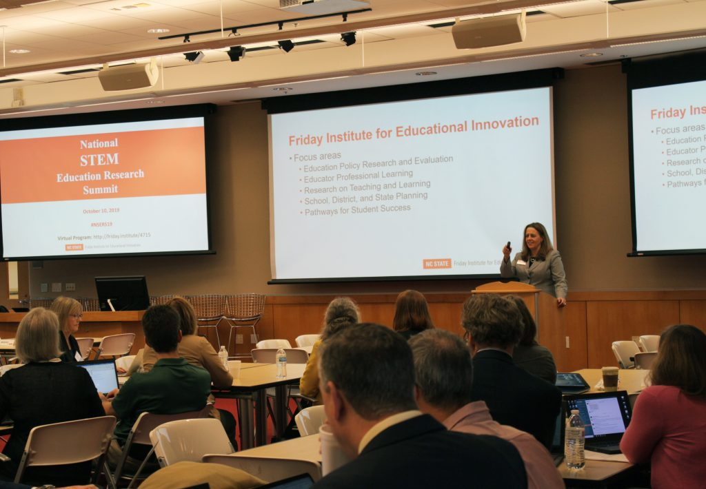 Friday Institute Executive Director Carla Johnson, Ed.D, welcomes attendees to the second National STEM Education Research Summit held in Raleigh, N.C.