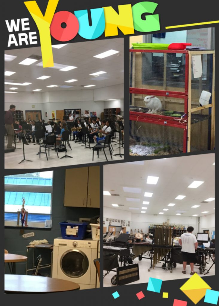 Picture 1 & 4: The School Symphony and Music Studio; Picture 2: a corner of Agriculture classroom; Picture 3: a corner of life-skills training classroom