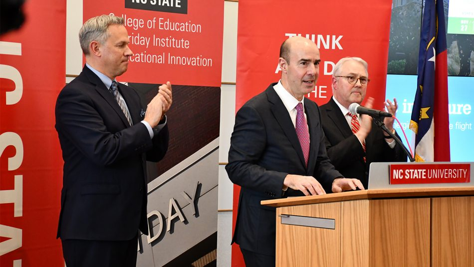 Left to right: N.C. Lt. Gov. Dan Forest, Labor Secretary Eugene Scalia and NC State Chancellor Randy Woodson during a press conference Tuesday, Feb. 18, when they announced NC State will receive a $6 million grant to prepare 5,000 new artificial intelligence (AI) professionals for North Carolina and beyond.