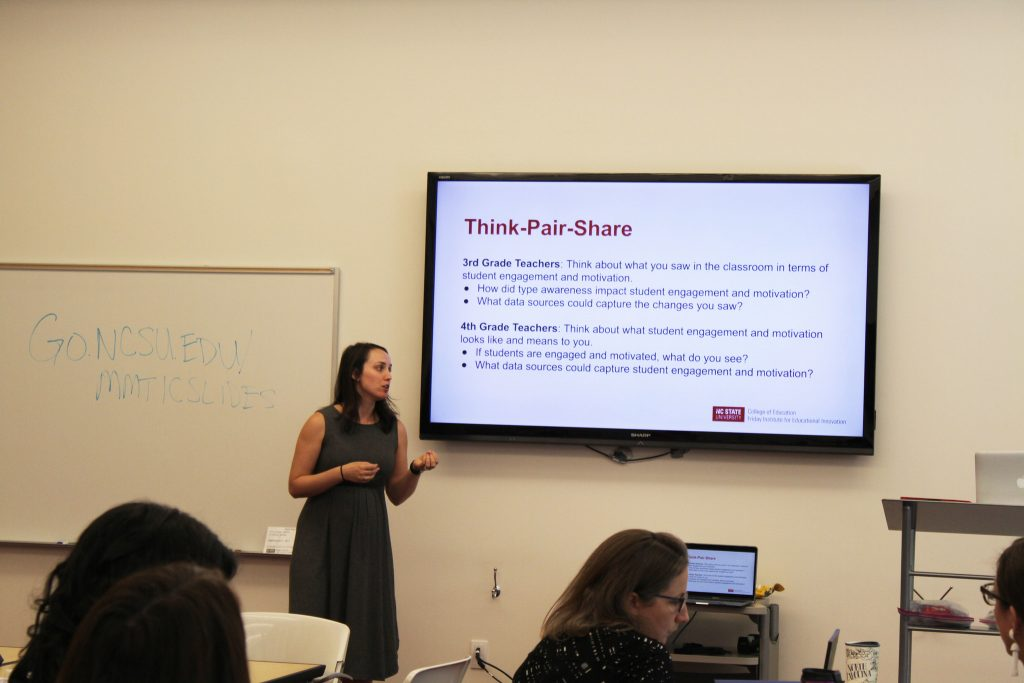 Allison Black-Maier, Ph.D., conducts a personal development training for Combs' 3rd and 4th grade teachers.